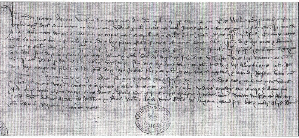 Fig . 4: A photograph of Sir William Perrot's will.  (Crown Copyright: The National Archives).