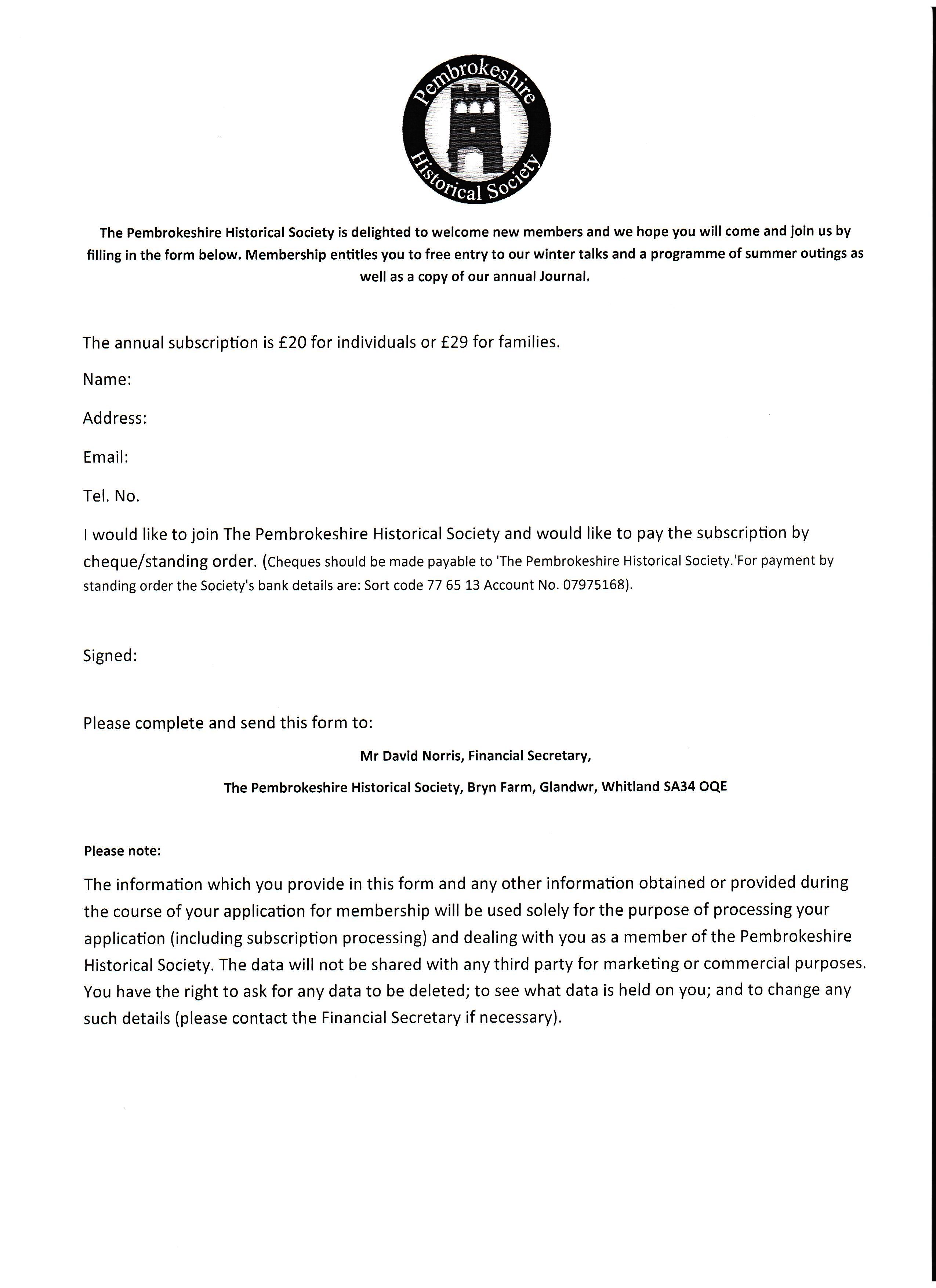 new membership form
