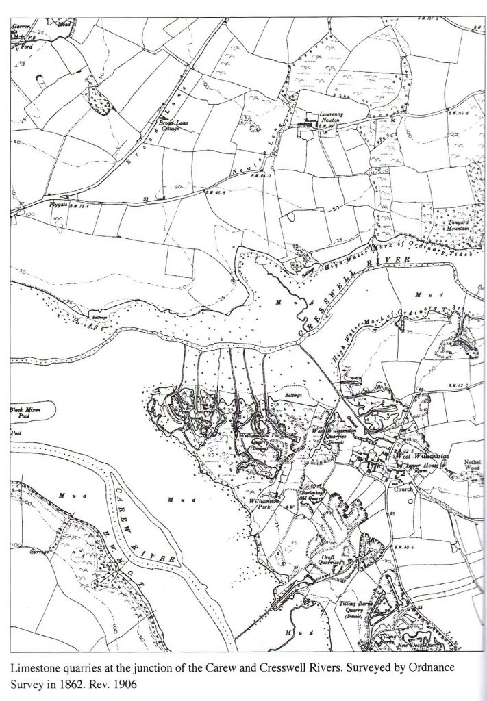 Limestone quarries at the junction of the Carew and Cresswell Rivers. Surveyed by Ordnance Survey in 1862. Rev. 1906.