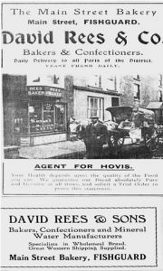 ADVERTS FOR REES BAKERY FROM BOROUGH GUIDES TO FISHGUARD 1911 AND 1932