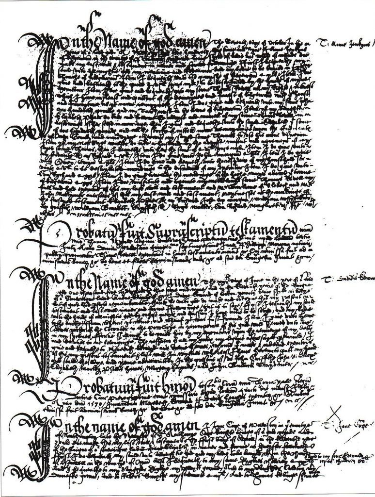 Fig. 2: A copy of the Prerogative Court of Canterbury Will Registers. The registered copy of the will of Anne Jenkyns is shown listed with others drawn from different parts of the country. (TNA: Crown Copyright)