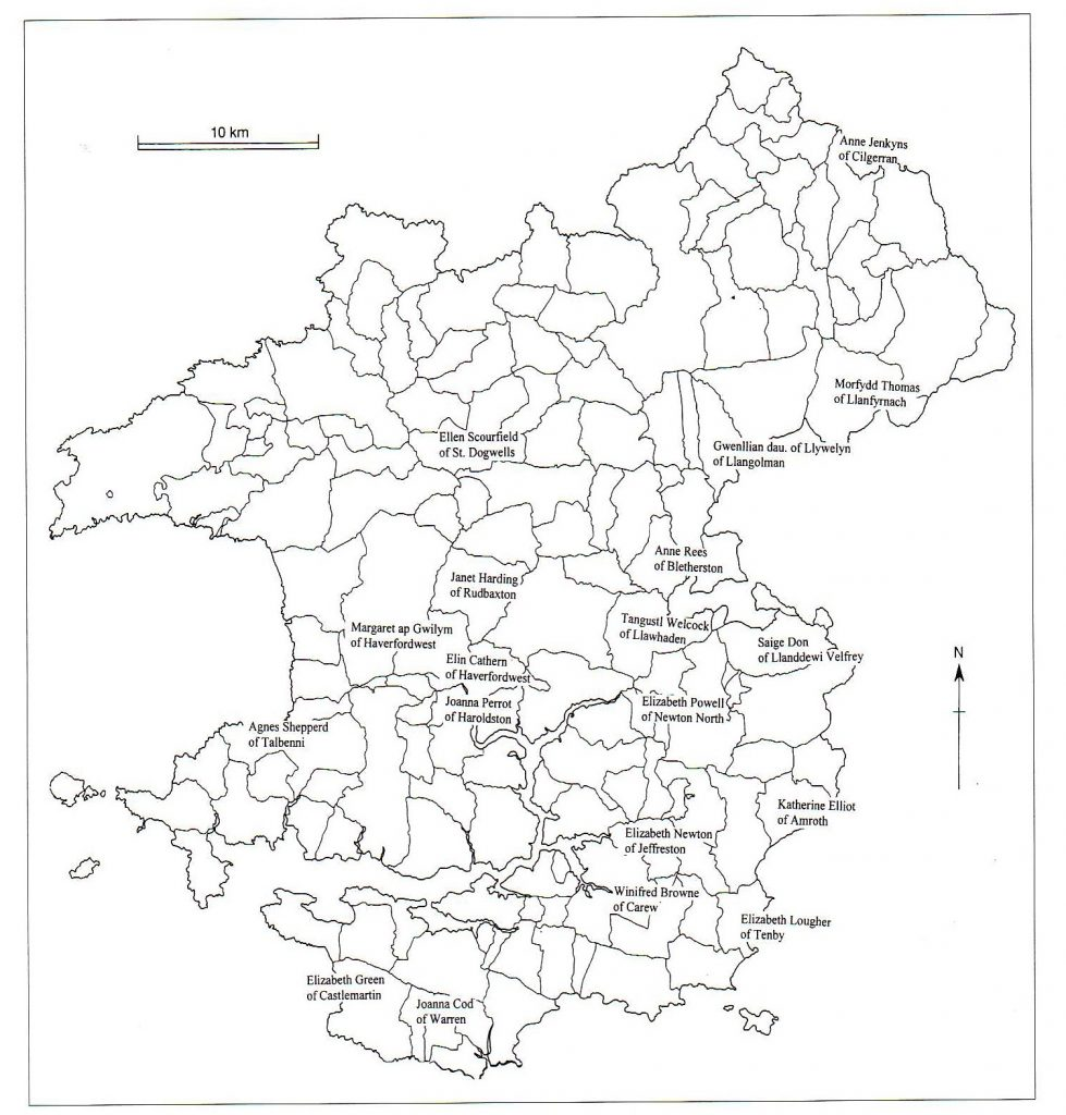 Fig 1: Map of Pembrokeshire parishes showing the locations of the will-makers