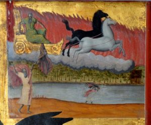 Fig.4b. Elijah dropping his mantle to Elias as he ascends in the fiery chariot.