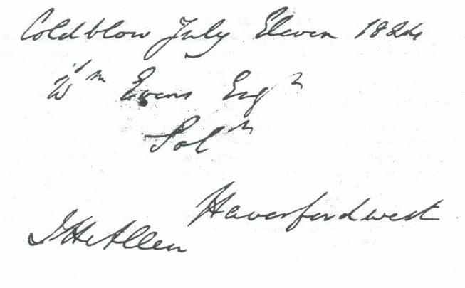 Figure 4: Cover sheet of letter sent from Cold Blow by J. Hensleigh Allen, M.P.