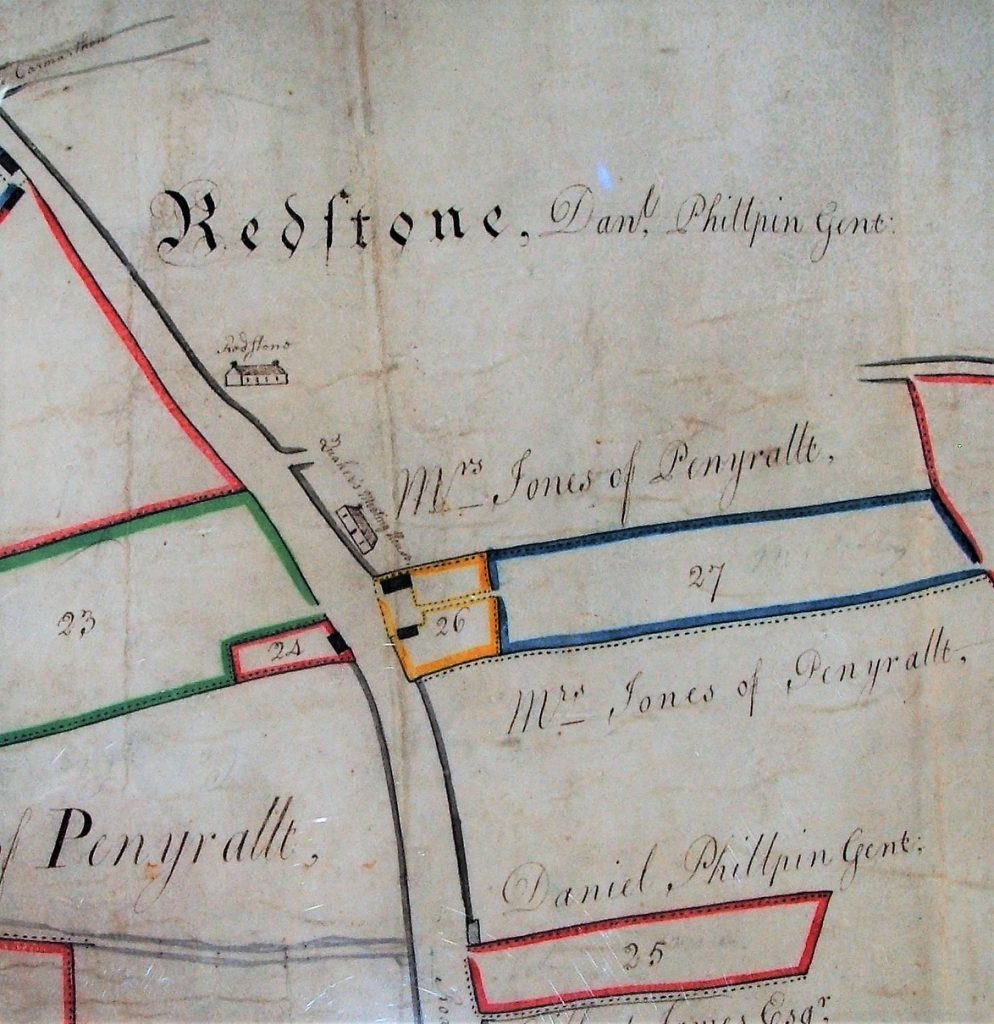 Map showing Redstone Meeting House, south of Redstone Cross on A40. (Pembrokeshire Record Office).