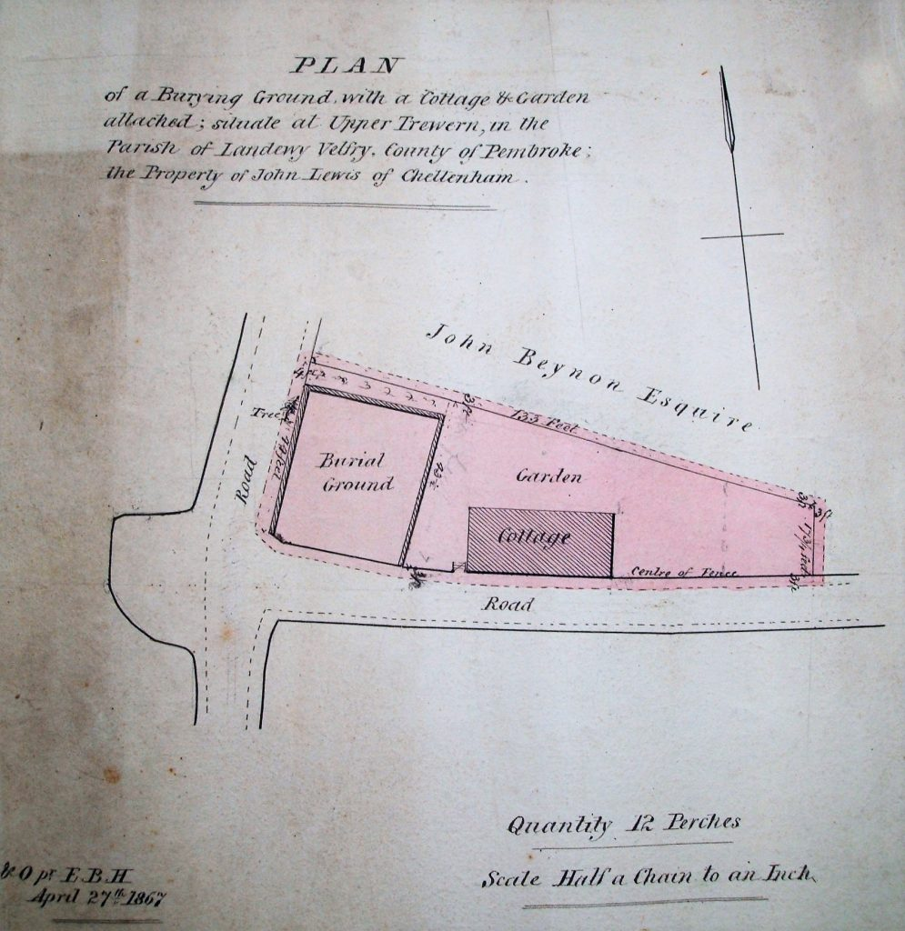 Plan of the burial ground (Pembrokeshire Record Office. DFC/F/3/1)